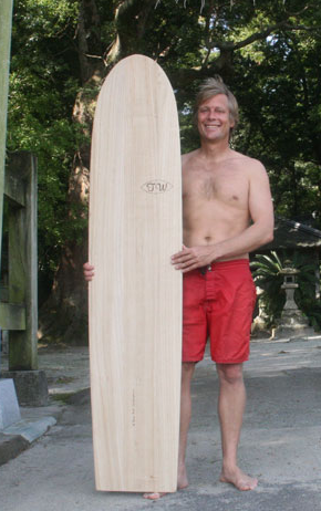 Jon Wegener with Paulownia Wood Surfboard